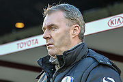 John Sheridan (Manager) (Oldham Atheltic) before the Sky Bet League 1 match between Barnsley and Oldham Athletic at Oakwell, Barnsley, England on 12 April 2016. Photo by Mark P Doherty.