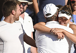 LONDON, July 16, 2018  Alexander Peya (L) of Austria and Nicole Melichar (back R) of the United States celebrate with friends and family after winning the mixed doubles final match against Jamie Murray of Britain and Victoria Azarenka of Belarus at the Wimbledon Championships 2018 in London, Britain, on July 15, 2018. Alexander Peya and Nicole Melichar won 2-0 and claimed the champion. (Credit Image: © Stephen Chung/Xinhua via ZUMA Wire)