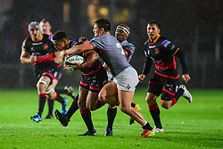 Dragons' Ashton Hewitt is tackled by Southern Kings' Michael Willemse - Mandatory by-line: Craig Thomas/JMP - 30/09/2017 - RUGBY - Rodney Parade - Newport, Gwent, Wales - Newport Gwent Dragons v Southern Kings - Guinness Pro 14