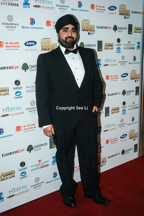 Rav Bansal - Great British Bake Off, Contestant attands the 2017 Asian Business Awards,London,UK. by See Li