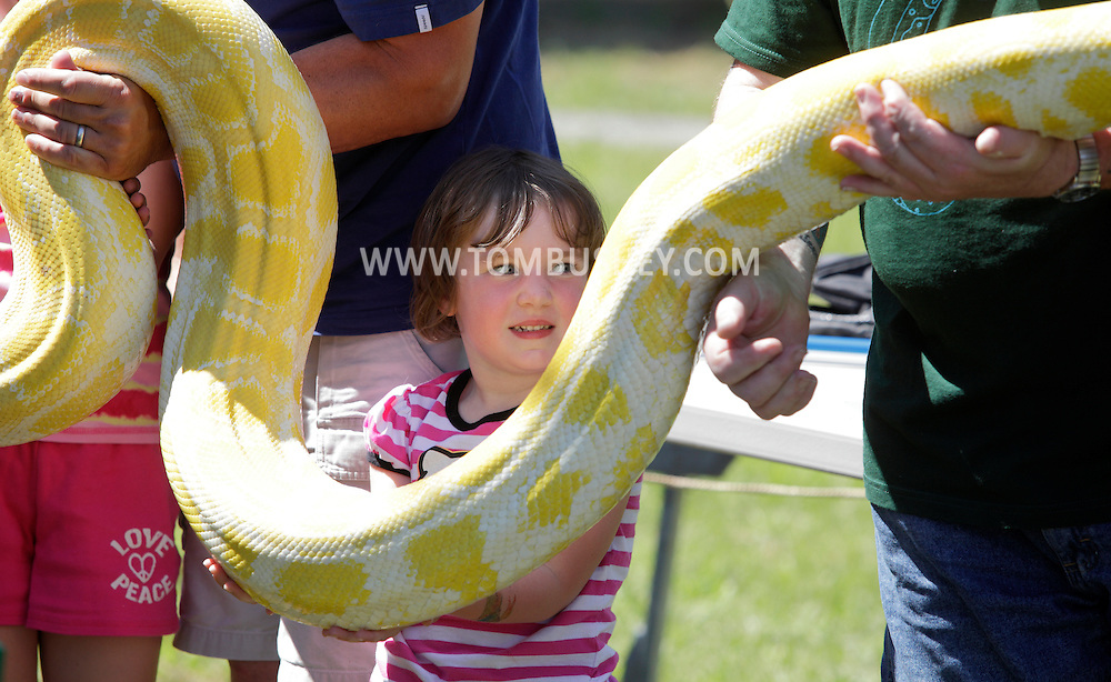 Bloomingburg, New York -  A young girl helps hold a large snake at the end of one of Jerry Hillard of Snakeman's Snake Shows at Butterfly Botanicals on June 20, 2010.
