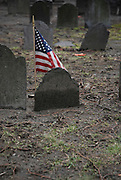 USA, Massachusetts, Boston American flag in a cemetery