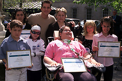 St Bartholomews Hospital, Child of Resolution Awards 2000. BACK L TO R NAZNEEN AHMED, SEAN McGUIRE, UNA McGURK, FRONT L TO R DANIEL CAROZZI,ANTHONY HUNT, ZOERIPLEY,KIRSTY ELLIS , KELSEY McQUAID, May 8, 2000. Photo by Andrew Parsons / i-images..