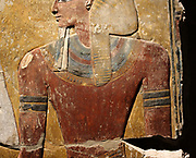 Fragment of a pillar : king Seti I in front of the god Osiris. New Kingdom, 19 Dynastic Around 1290 BC West Bank Valley of the kings, Grave of Seti 1 limestone