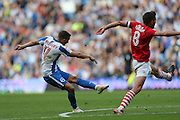Brighton & Hove Albion winger Anthony Knockaert (11) shoots at goal during the EFL Sky Bet Championship match between Brighton and Hove Albion and Barnsley at the American Express Community Stadium, Brighton and Hove, England on 24 September 2016.