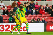 West Bromwich Albion forward Hal Robson-Kanu (4) celebrates after scoring his team's first goal during the EFL Sky Bet Championship match between Middlesbrough and West Bromwich Albion at the Riverside Stadium, Middlesbrough, England on 19 October 2019.