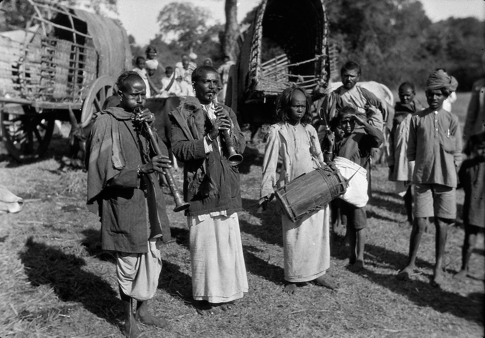 Temple Musicians at Village Festival, Antharasanthe, Karnataka, India, 1929