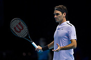 Roger Federer of Switzerland disputing a line call during the ATP World Tour Finals at the O2 Arena, London, United Kingdom on 12 November 2017. Photo by Martin Cole.