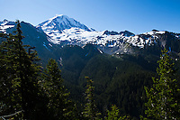 The Northwest side of Mount Rainier, Mount Rainier National Park, Washington, USA.