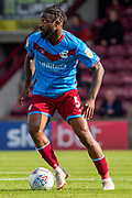 Yann Songo'o of Scunthorpe United during the EFL Sky Bet League 2 match between Scunthorpe United and Carlisle United at Sands Venue Stadium, Scunthorpe, England on 31 August 2019.