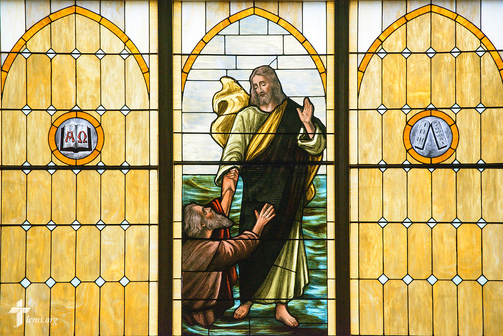 Stained glass depicting Jesus Christ rescuing Peter from the Gospel of Jesus Christ according to Matthew, on Thursday, Oct. 27, 2016, at First Immanuel Lutheran School in Cedarburg, Wis. LCMS Communications/Erik M. Lunsford