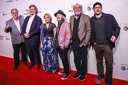 April 28, 2019 - New York, New York, United States - (L-R) Actor, panel moderator and voice of Lisa Simpson Yeardley Smith, Executive Producer Matt Selman, actor and voice of multiple characters Harry Shearer, Showrunner and Executive Producer Al Jean, Executive Producer James L. Brooks, and creator and Executive Producer Matt Groening, attend ''Tribeca TV: The Simpsons 30th Anniversary'' during the 2019 Tribeca Film Festival at BMCC Tribeca PAC on April 28, 2019 in New York City. (Credit Image: © William Volcov/ZUMA Wire)