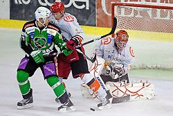 Bostjan Golicic (HDD Tilia Olimpija, #71) and Michal Fikrt (HK Acroni Jesenice, #37) during ice-hockey match between HDD Tilia Olimpija and HK Acroni Jesenice in 3rd Round of EBEL league, on September 16, 2011 at Hala Tivoli, Ljubljana, Slovenia. (Photo By Matic Klansek Velej / Sportida)