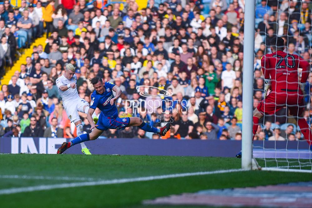 Ezgjan Alioski of Leeds United (10) has his shot blocked during the EFL Sky Bet Championship match between Leeds United and Bolton Wanderers at Elland Road, Leeds, England on 23 February 2019.