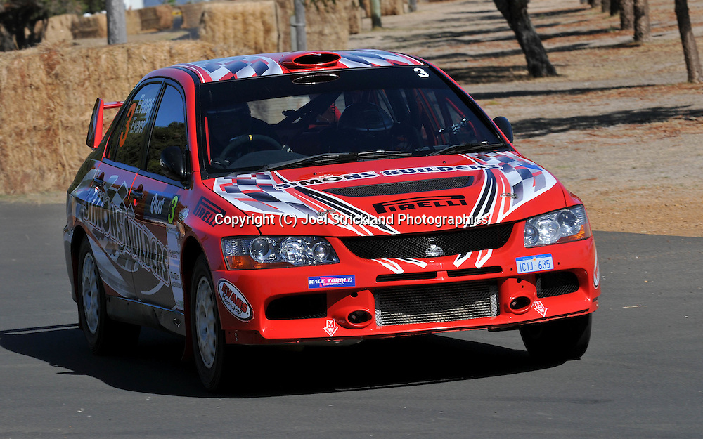 Simon EVANS & Sue EVANS.Mitsubishi  Lancer IX.Motorsport-Rally/2009 Forest Rally .Shakedown .3rd of April 2009.Busselton Foreshore, Busselton, Western Australia.(C) Joel Strickland Photographics