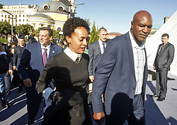 October 1, 2018 - Kiev, Ukraine - Former Boxing Champion EVANDER HOLYFIELD (R) arrives to the opening of the 56th World Boxing Convention in Kiev, Ukraine, on 1 October 2018.The WBC 56th congress in which take part boxing legends Evander Holyfield,Lennox Lewis, Eric Morales and about 700 participants from 160 countries runs in Kiev from from September 30 to October 5. (Credit Image: © Serg Glovny/ZUMA Wire)