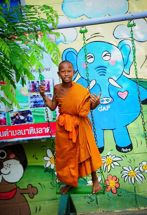 Children Monks, Nakhon Nayok, Thailand.