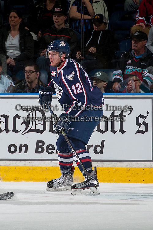 KELOWNA, CANADA - MARCH 4: Jordan Topping #12 of the Tri-City Americans skates against the Kelowna Rockets on March 4, 2017 at Prospera Place in Kelowna, British Columbia, Canada.  (Photo by Marissa Baecker/Shoot the Breeze)  *** Local Caption ***