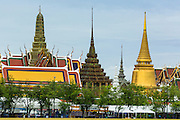 22 JULY 2014 - BANGKOK, THAILAND: The roofline of the Grand Palace in Bangkok. The palace is no longer home of the Royal Family but it's still the symbolic heart of the monarchy.     PHOTO BY JACK KURTZ