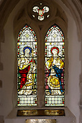 Stained glass window of Saint Matthew and Saint Mark, Worlingworth church, Suffolk, England, UK, Clayton and Bell c 1901