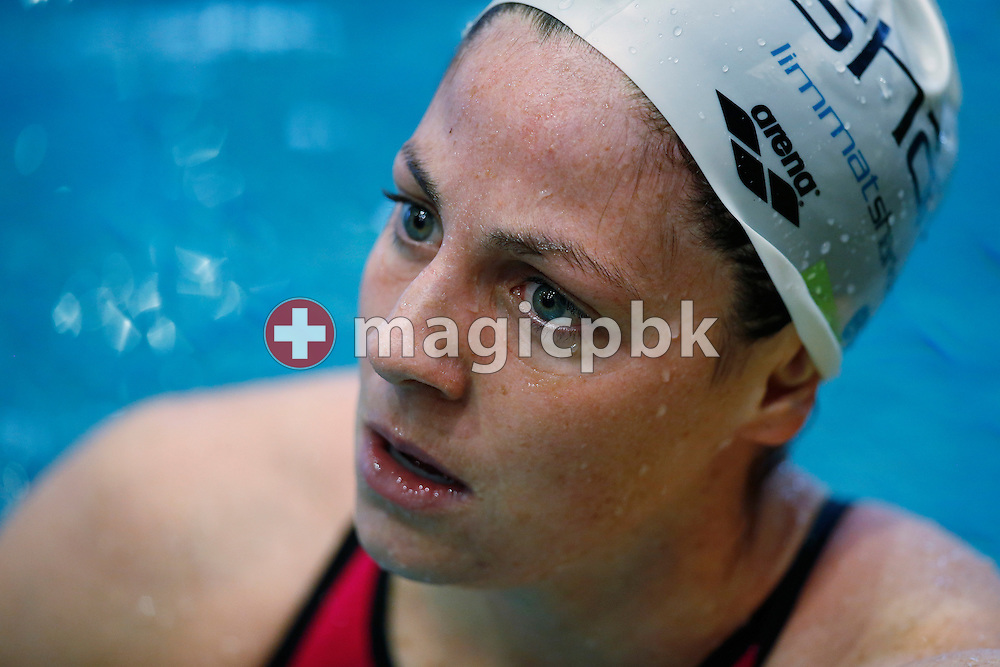 Danielle VILLARS of Switzerland looks on after competing in the women's 100m Butterfly Heats during the Swiss Swimming Championships at the Hallenbad Oerlikon in Zuerich, Switzerland, Sunday, March 13, 2016. (Photo by Patrick B. Kraemer / MAGICPBK)