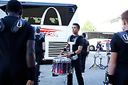 Shadow Drum and Bugle Corps warms up before a show in Waukesha, Wisconsin on July 8, 2018. <br /> <br /> Beth Skogen Photography - www.bethskogen.com