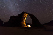 Night shot of the Elephant rock arch, Unesco world heritage, Ennedi plateau, Chad, Africa