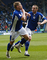 Photo: Steve Bond/Richard Lane Photography. Leicester City v Cardiff City. Coca Cola Championship. 13/03/2010. Martyn Waghorn celebrates