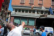 Roma 22 Giugno 2012.Manifestazione  dei sindacati di base contro le politiche economiche e sociali del Governo Monti..Un albergo colpito dal lancio delle uova dei manifestanti