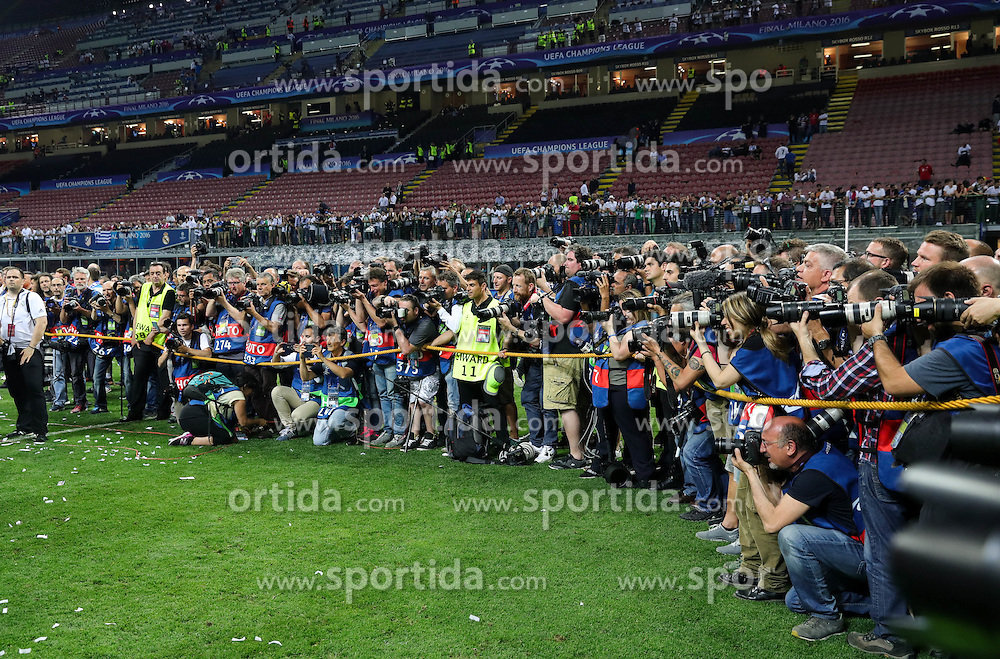 Photographers at celebration of Real after the football match between Real Madrid (ESP) and Atlético de Madrid (ESP) in Final of UEFA Champions League 2016, on May 28, 2016 in San Siro Stadium, Milan, Italy. Photo by Vid Ponikvar / Sportida