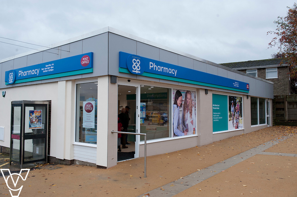 General view of the outside of the newly refurbished Lincolnshire Co-operative Pharmacy in Washingborough<br /> <br /> Official re-opening of the refurbished Washingborough Food Store and precinct, which includes the Co-op Pharmacy.<br /> <br /> Date: October 30, 2015<br /> Picture: Chris Vaughan/Chris Vaughan Photography