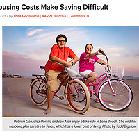 Portrait of Patricia Gonzalez-Portillo and her son, Raul, in Long Beach for AARP story about financial challenges. Patricia and her husband are considering relocating from California to Texas where the cost of living is lower so they can fund Raul's college education.