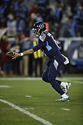 Tennessee Titans quarterback Marcus Mariota (8) in action during the week 14 regular season NFL football game against the Jacksonville Jaguars on Thursday, Dec. 6, 2018 in Nashville, Tenn. The Titans won the game 30-9. (©Paul Anthony Spinelli)