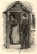 The Adventure of the Yellow Face'.  Jack Grant Munro, suspicious of his wife's actions, getting a cool receiption from a neighbour on whom he has called to make enquiries. From 'The Adventures of Sherlock Holmes' by Conan Doyle from 'The Strand Magazine' (London, 1893). Illustration by Sidney E Paget, the first artist to draw Sherlock Holmes.  Engraving.