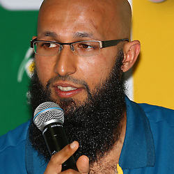 Durban South Africa -  December 14, Hashim Amla during the Media Invitation to Sunfoil Test Series and Sunfoil Domestic Series launch at the Sahara Stadium Kingsmead (Photo by Steve Haag)images for social media must have consent from Steve Haag