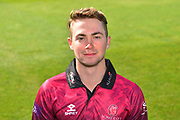 Head shot of Eddie Byrom in the Royal London One-Day Cup kit during the 2019 media day at Somerset County Cricket Club at the Cooper Associates County Ground, Taunton, United Kingdom on 2 April 2019