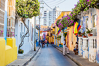 Cartagena , Colombia  - March 9, 2017 : Colorful streets of Getsemani<br /> area of Cartagena de los indias Bolivar in Colombia South America