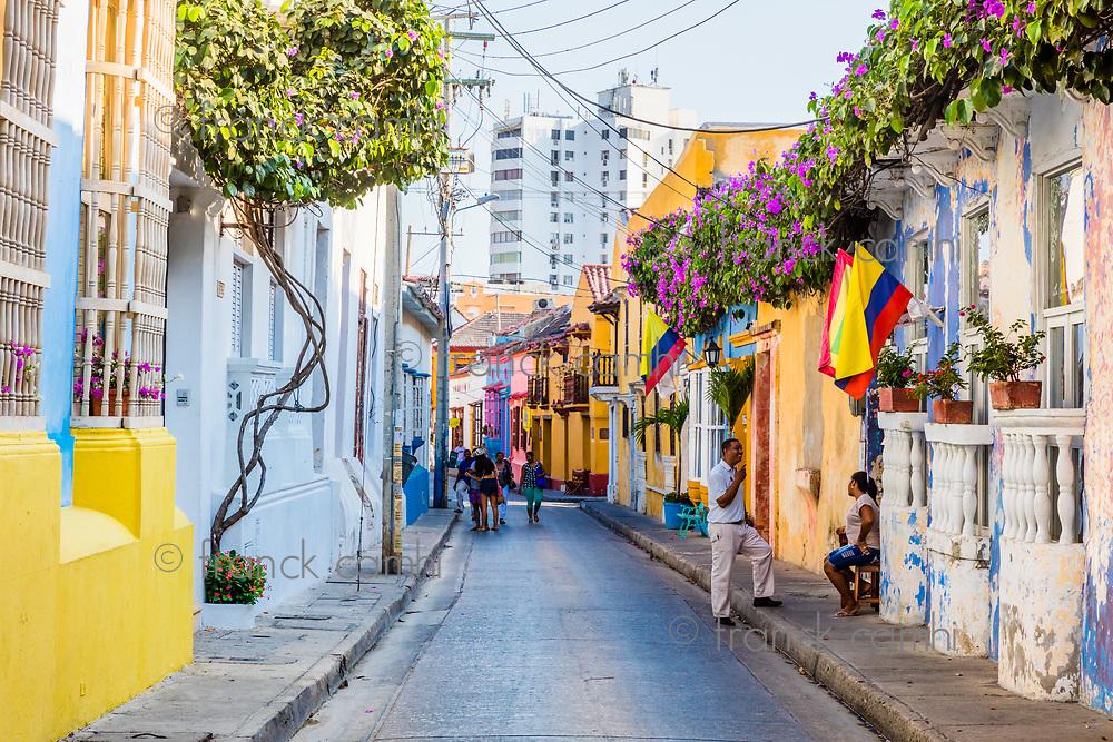 Cartagena , Colombia  - March 9, 2017 : Colorful streets of Getsemani<br /> area of Cartagena de los indias Bolivar in Colombia South America