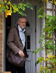 © Licensed to London News Pictures. 11/11/2015. London, UK. Labour Party leader JEREMY CORBYN leaving his home in Islington, north London on the day that he is due to be sworn in to Privy Council by Queen Elizabeth II. It is not known if Corbyn, who is a republican, will kneel in front of the Queen,  normally a requirement as part of a swearing-in ceremony for the group that advises monarchs.  Photo credit: Ben Cawthra/LNP