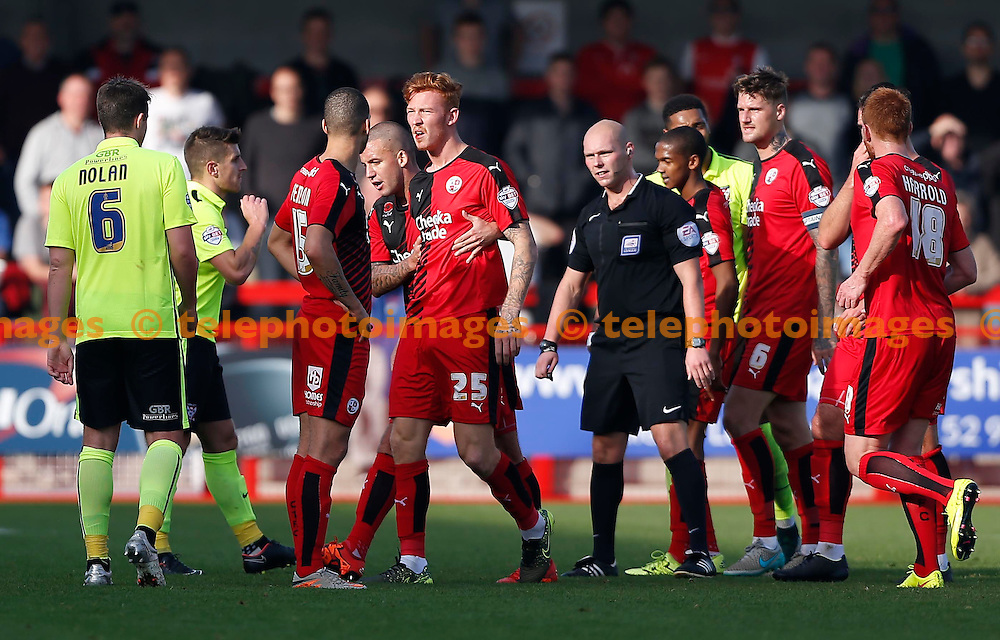 Crawley&rsquo;s Josh Yorwerth picks up an injury during the Sky Bet League 2 match between Crawley Town and York City at the Checkatrade.com Stadium in Crawley. October 31, 2015.<br /> James Boardman / Telephoto Images<br /> +44 7967 642437