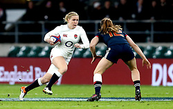 Danielle Waterman of England takes on Elodie Poublan of France Women - Mandatory by-line: Robbie Stephenson/JMP - 04/02/2017 - RUGBY - Twickenham - London, England - England v France - Women's Six Nations