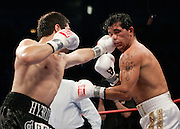 July 14, 2007: Arturo Gatti vs Alfonso Gomez at Caesars Palace in Atlantic City, NJ -  Arturo Gatti is defeted in the seventh round by Gomez. TKO 7th round. Gomez tags Gatti with a left jab.