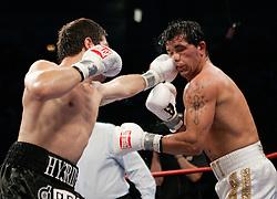 July 14, 2007: Arturo Gatti vs Alfonso Gomez at Caesars Palace in Atlantic City, NJ -  Arturo Gatti is defeted in the seventh round by Gomez. TKO 7th round. Gomez tags Gatti with a left jab.