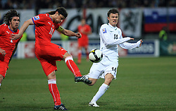Tomas Ujfalusi of Czech Republic vs Zlatko Dedic of Slovenia at the 8th day qualification game of 2010 FIFA WORLD CUP SOUTH AFRICA in Group 3 between Slovenia and Czech Republic at Stadion Ljudski vrt, on March 28, 2008, in Maribor, Slovenia. Slovenia vs Czech Republic 0 : 0. (Photo by Vid Ponikvar / Sportida)