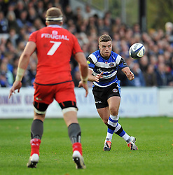 George Ford of Bath Rugby receives the ball - Photo mandatory by-line: Patrick Khachfe/JMP - Mobile: 07966 386802 25/10/2014 - SPORT - RUGBY UNION - Bath - The Recreation Ground - Bath Rugby v Toulouse - European Rugby Champions Cup