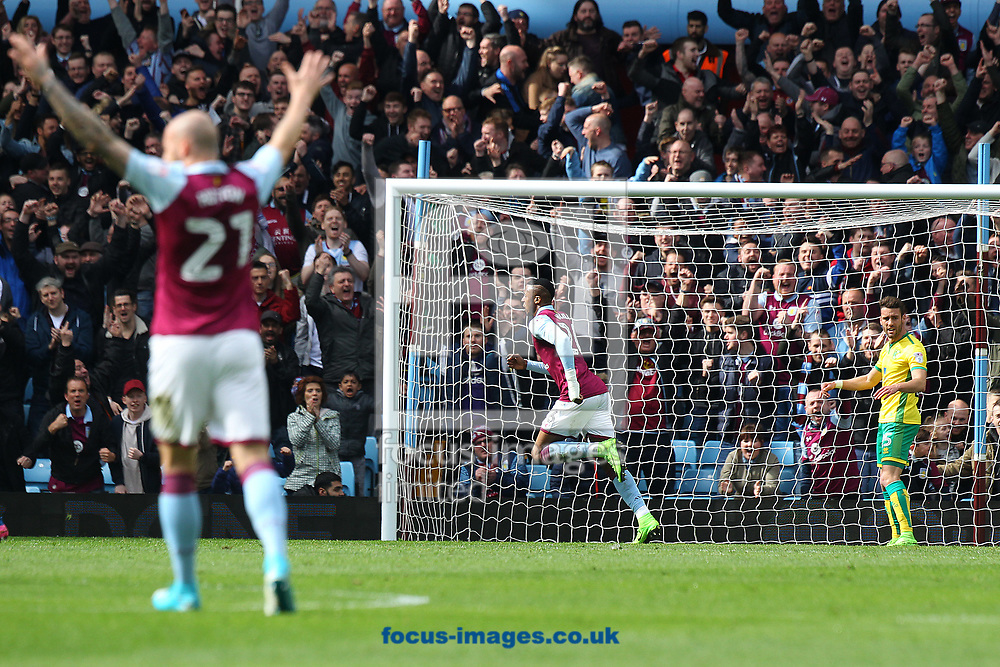 Jonathan Kodjia of Aston Villa celebrates scoring his sides 1st goal during the Sky Bet Championship match at Villa Park, Birmingham<br /> Picture by Paul Chesterton/Focus Images Ltd +44 7904 640267<br /> 01/04/2017