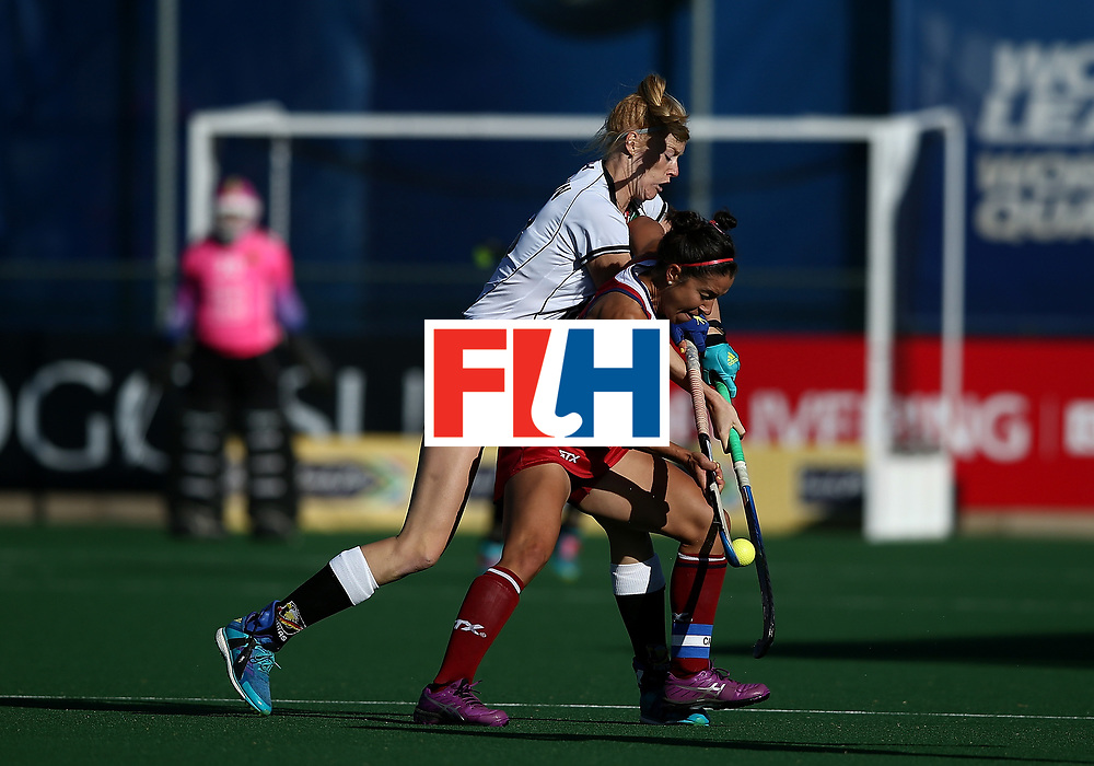 JOHANNESBURG, SOUTH AFRICA - JULY 23:  Nina Notman of Germany battles with Melissa Gonzalez of United States of America during day 9 of the FIH Hockey World League Women's Semi Finals final match between X at Wits University on July 23, 2017 in Johannesburg, South Africa.  (Photo by Jan Kruger/Getty Images for FIH)