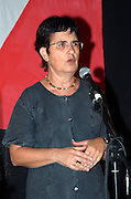 Tamar Gozansky, member of the  Hadash (new) left wing political party, ex member of the Knesset, (from Kneeset 12th to 15th) sessions the Israeli parliament, talking at a protest on the changes in the 2007 budget in Israel, October 2006