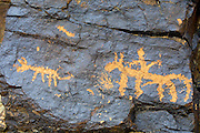GOBI DESERT, MONGOLIA..08/27/2001.Mount Ikh Bayan. Rock paintings 30-40.000 years old..(Photo by Heimo Aga).