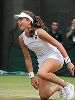 Tennis - 2017 Wimbledon Championships - Week Two, Monday [Day Seven]<br /> <br /> Women's Singles, Fourth Round<br /> <br /> Johanna Konta (GBR) vs. Caroline Garcia (FRA)<br /> <br /> Johanna Konta drops to her knees after winning match point on Court 1<br /> <br /> COLORSPORT/ANDREW COWIE